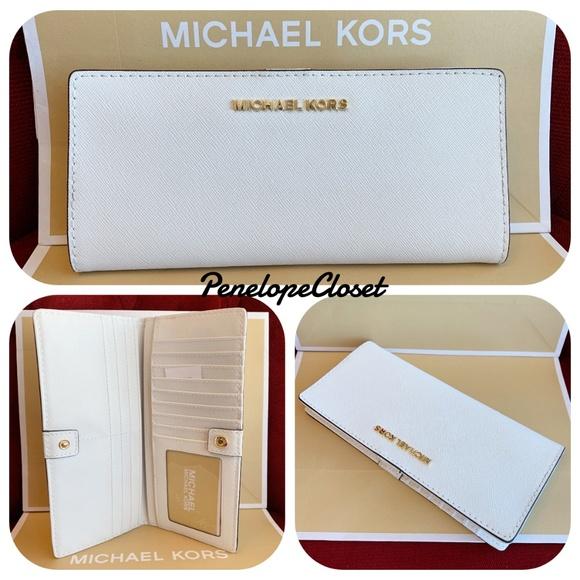e307ddd96555 Michael Kors Bags | Jet Set Flat Slim Bifold White Wallet | Poshmark